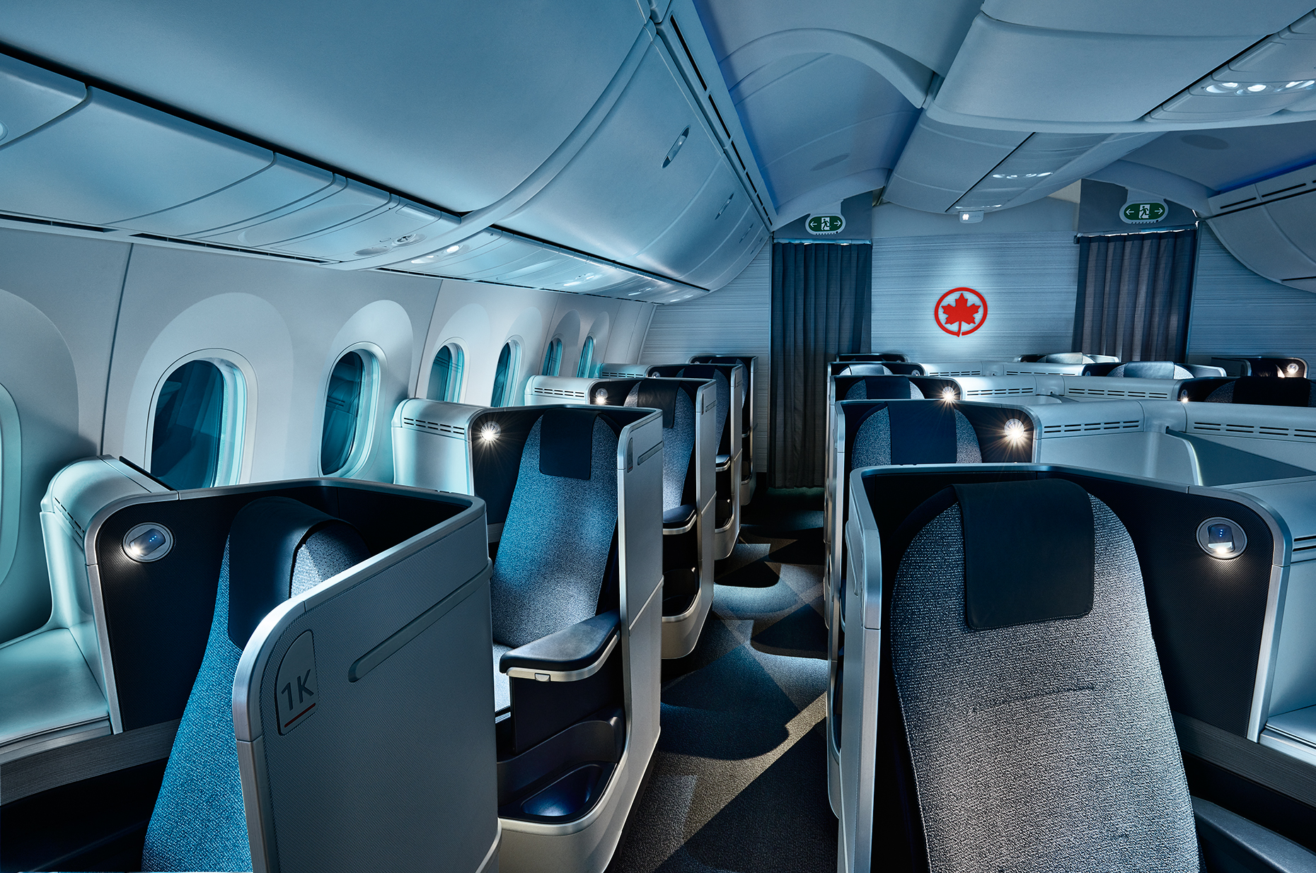 Air Canada  Dreamliner - J-Class Cabin, Night