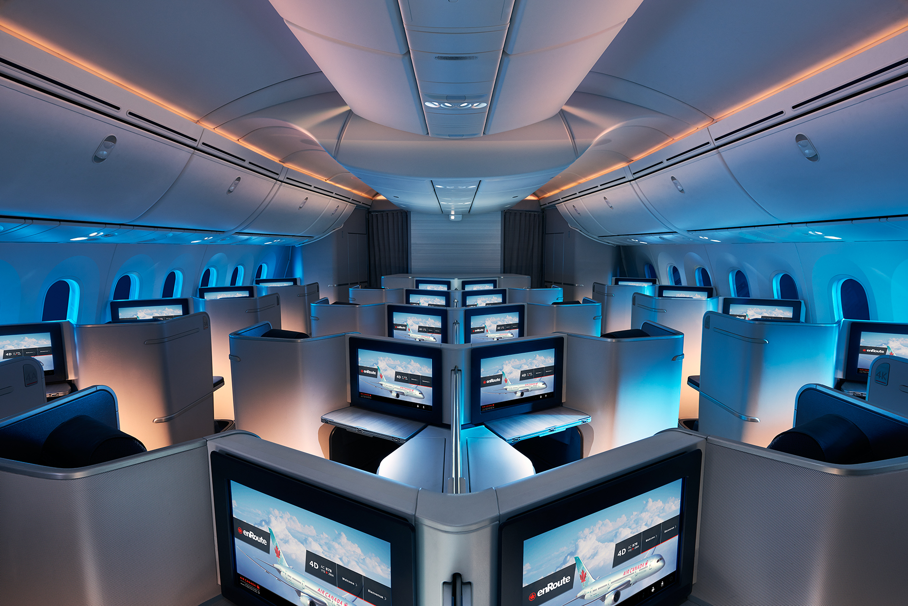 Air Canada  Dreamliner - Rear view, J-Class Cabin, Night